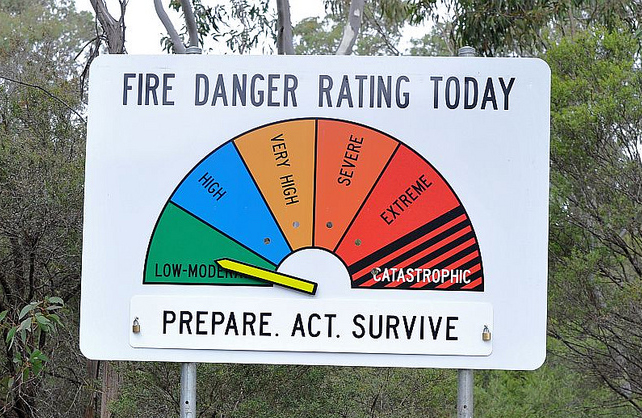 A sign with fire danger ratings