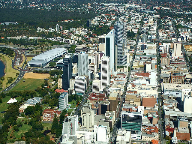 Perth city streets seen from the air