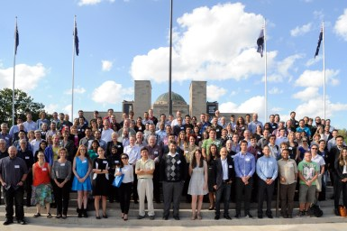 160 people who attended the The Cutting Edge Symposium on Synthetic Biology are pictured on the steps of the Australian War Memorial. The event was held in Canberra on 4–5 April 2016.