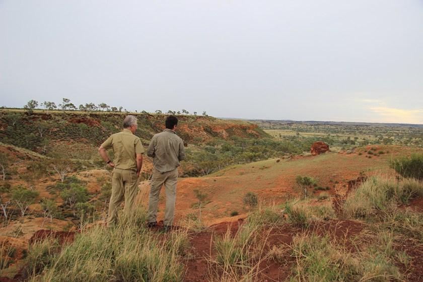 CSIRO researchers Mark Thomas and Noel Schoknecht in the Fitzroy catchment in Western Australia.