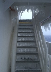 Stairs on a ship that are iced over
