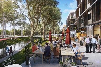 artist impression of new development, people on sidewalk next to canal