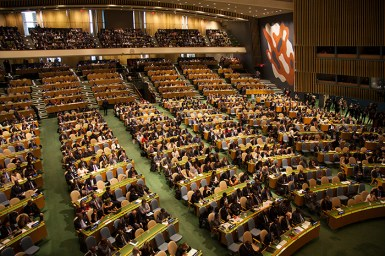 UN assembly hall filled with conference delegates