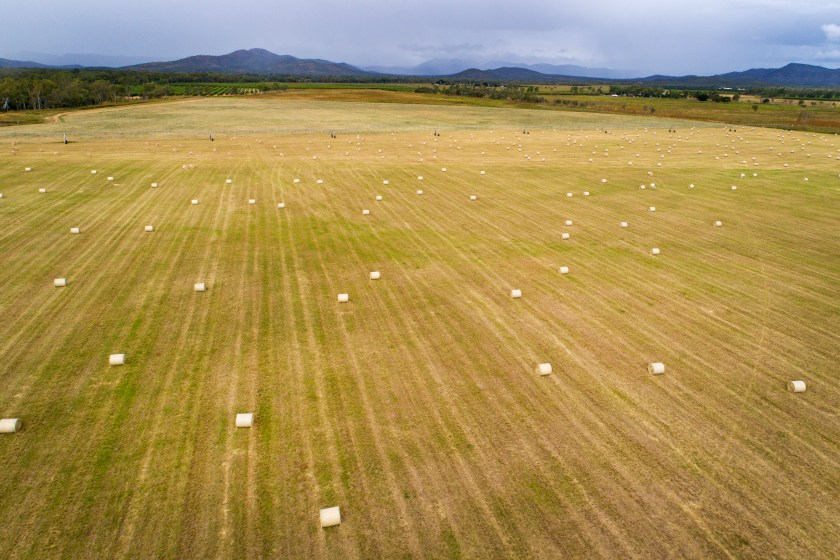aerial of a field with hay bales and mountains in the background