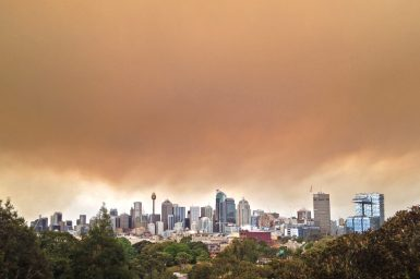 Thick smoke covers the Sydney skyline