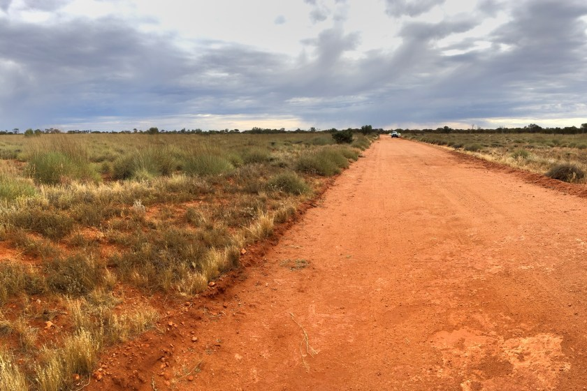 A deserted dusty road in the APY lands in South Australia