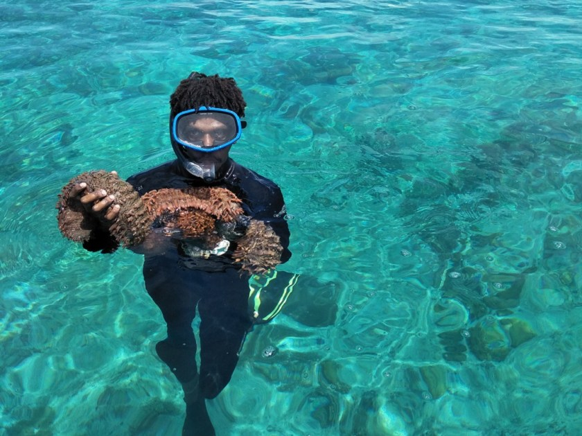 A diver wearing goggles holding a Prickly redfish.