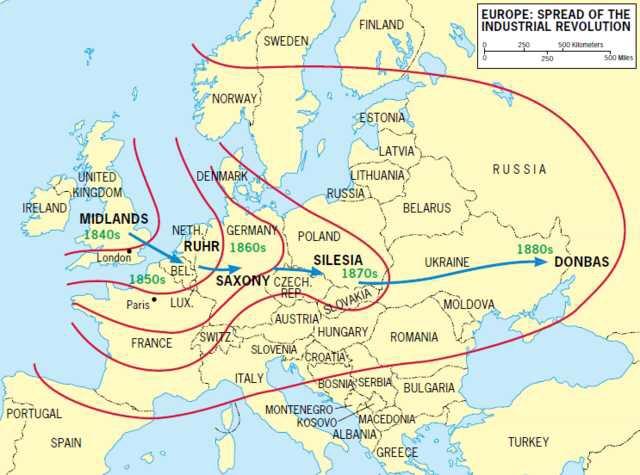 Carte Europe Industrielle.La Diffusion De La Revolution Industrielle En Europe L