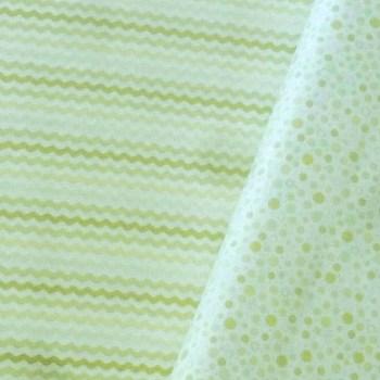 tela patchwork mascarilla zigzag verde burbujas verde
