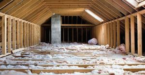 Insulated attic with blown in cellulose insulation