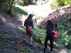 (37.875,-122.24) Junice and Aysha investigate the variety of plants along Winter Creek in the UC Berkeley Botanical Gardens.