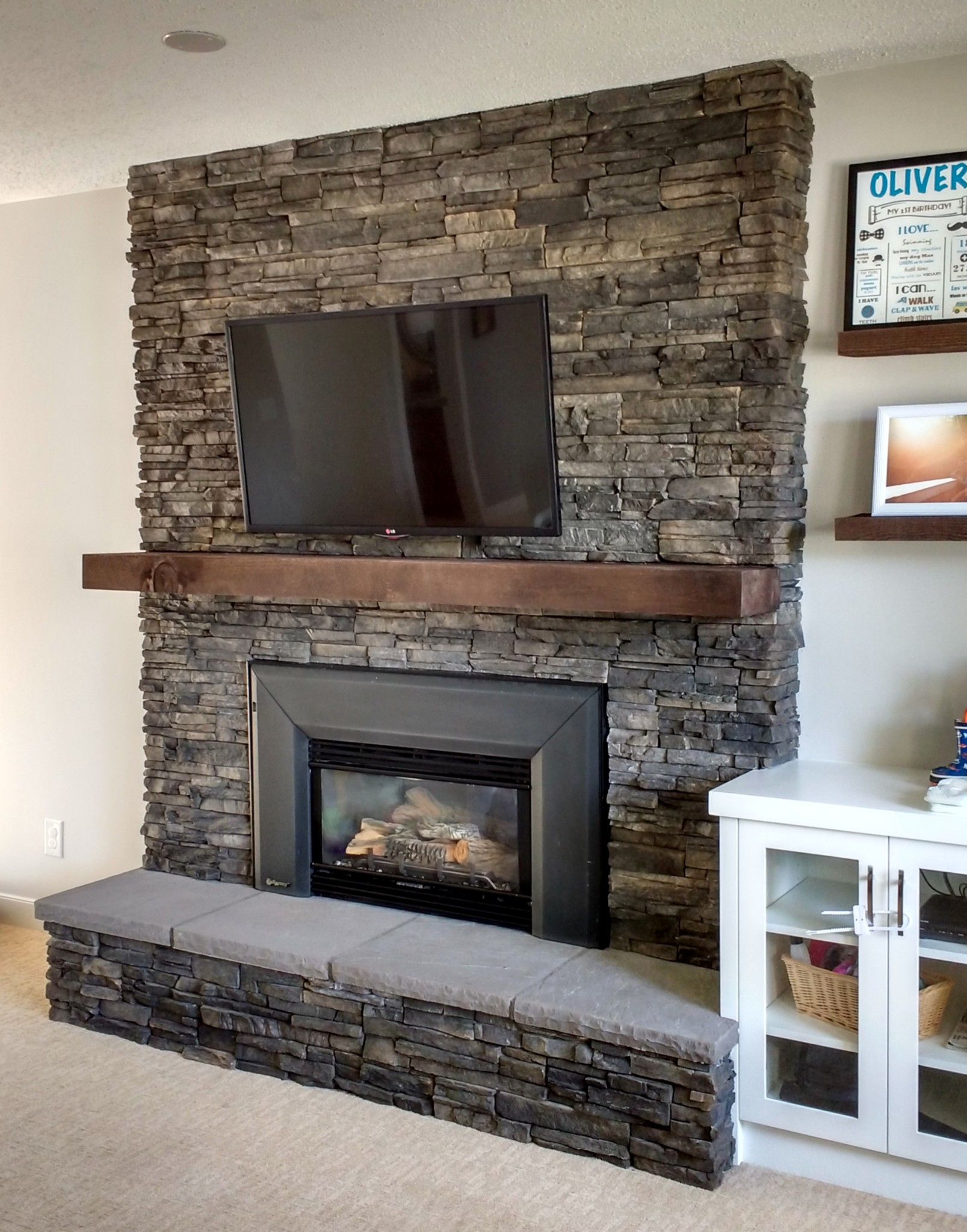 Fireplace With Hearth Brick Cover Up