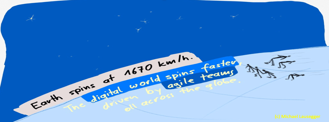 Earth spins at 1670 km/h. The digital world spins faster, driven by agile teams all across the globe.