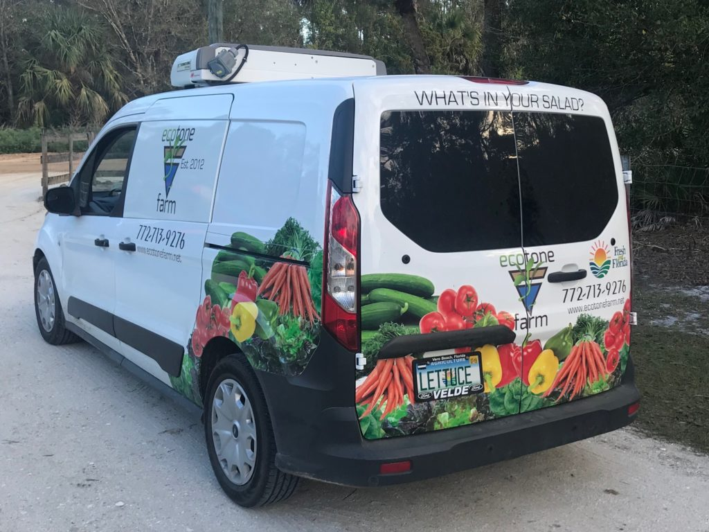 Ecotone Farms About Our Farm Page - refrigerated van