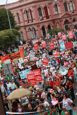 About 3000 people march down King Street in Newtown on February 1 to protest against the WestConnex tollway. Photo: WestConnex Action Group/Facebook