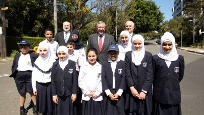 School safety: Al Zahra College students with Duncan Gay (rear middle), John Flowers (rear left) and principal Bruce Handley (rear right) at the announcement. Picture: Chris Lane