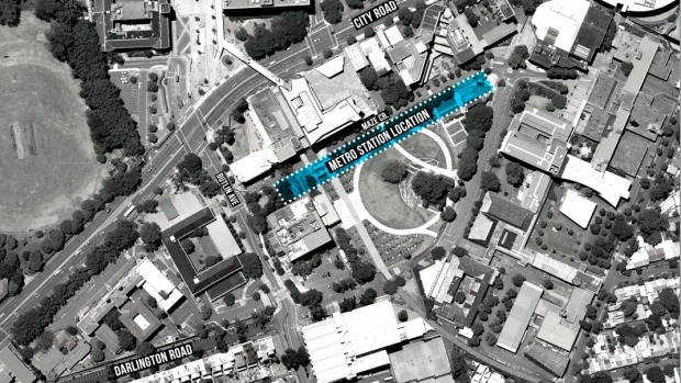 Sydney University's preferred site for a train station on Maze Crescent. Photo: Supplied