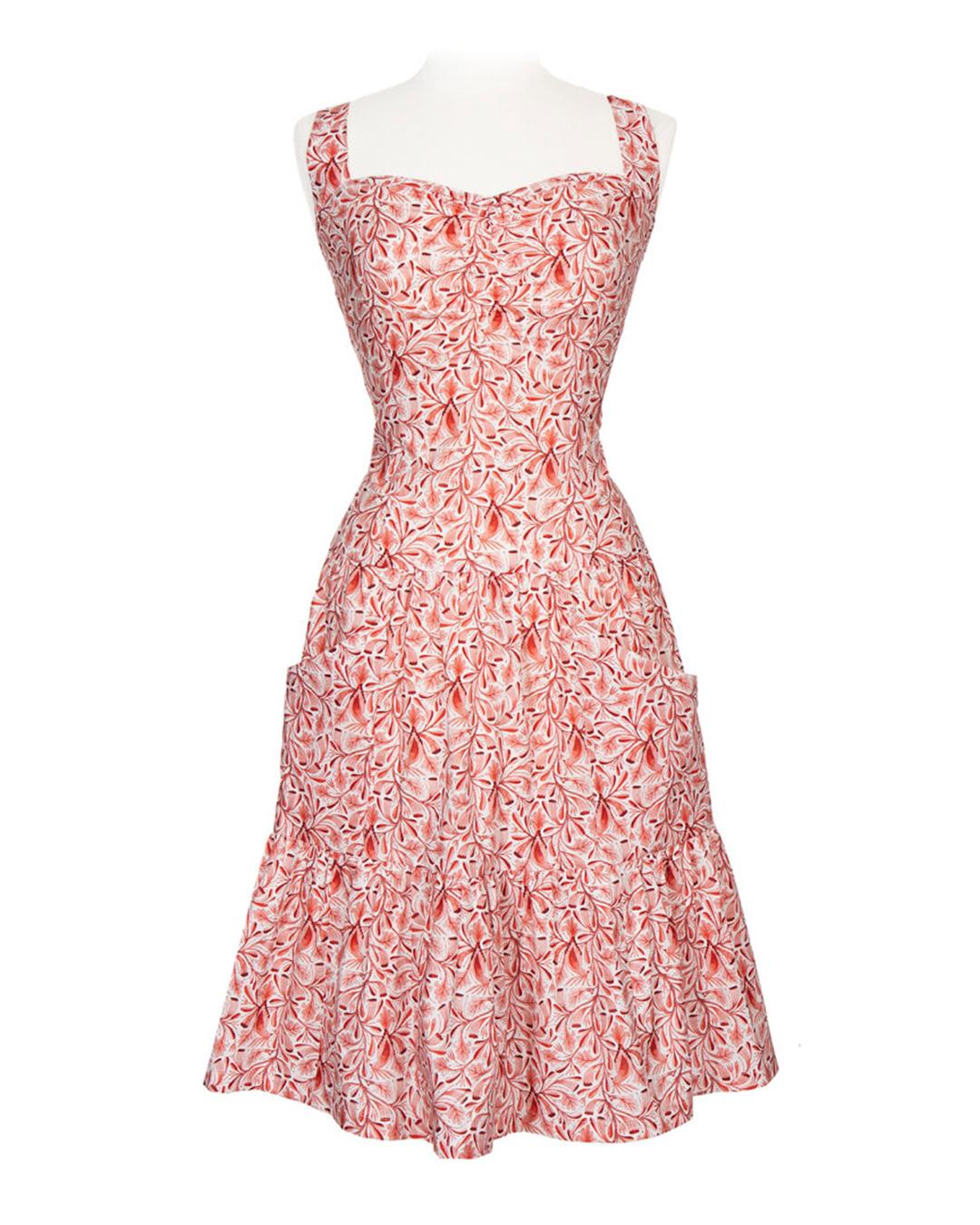 Sommerkjole koralrød kjole flora