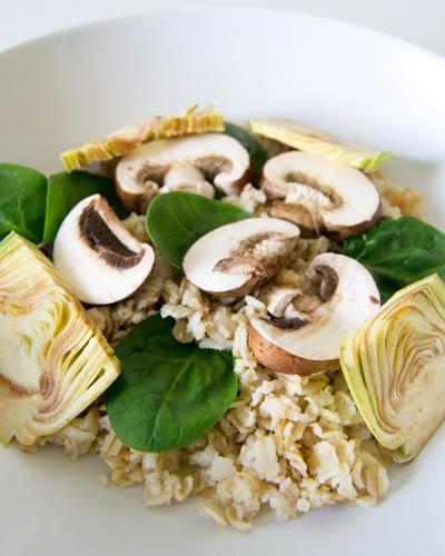 Receta de ensalada de avena y crudités de otoño - recetas de ensaladas - recetas con setas - recetas con avena - recetas vegetarianas y veganas