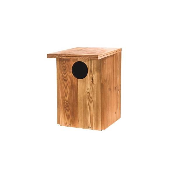 Bosuilnestkast, gemaakt uit lariks. Deze nestkast is op maat gemaakt voor de bosuil.