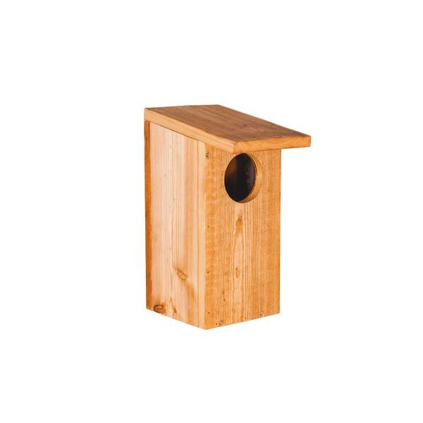 Holenduifnestkast, gemaakt uit lariks. Deze nestkast is op maat gemaakt voor de holenduif.