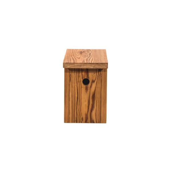 Mezennestkast, gemaakt uit lariks. Deze nestkast is op maat gemaakt voor de pimpelmees, koolmees en bontevliegenvanger.
