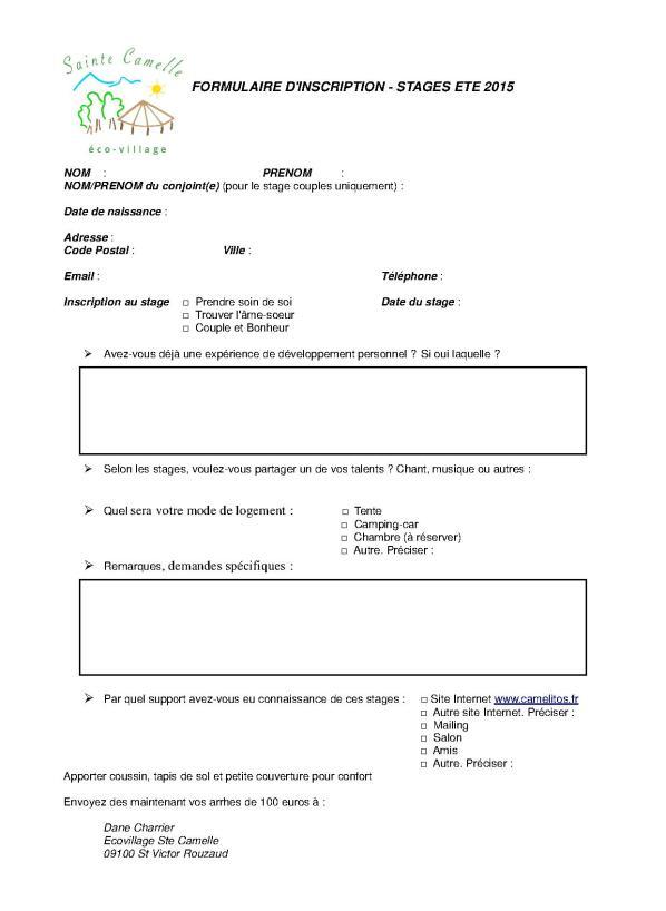 formulaire inscription stages ete 2015