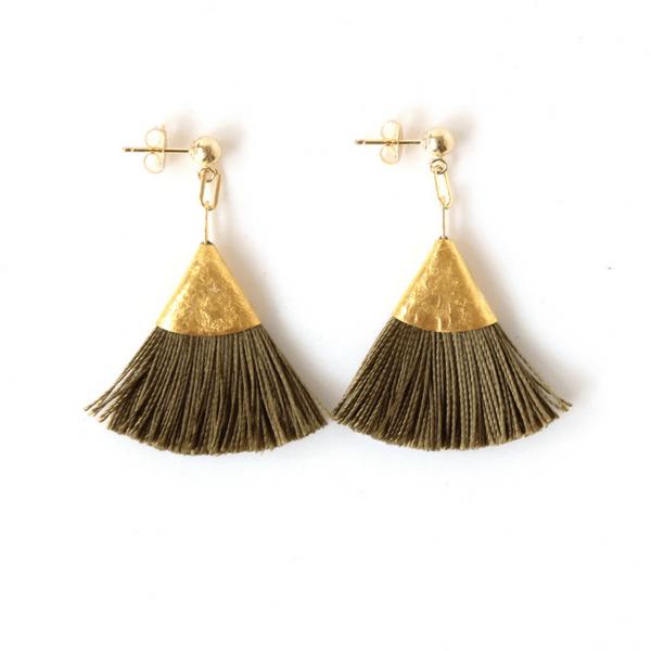Bohome & Roam Olive Tassel Earrings - Ethical Fashion New Zealand