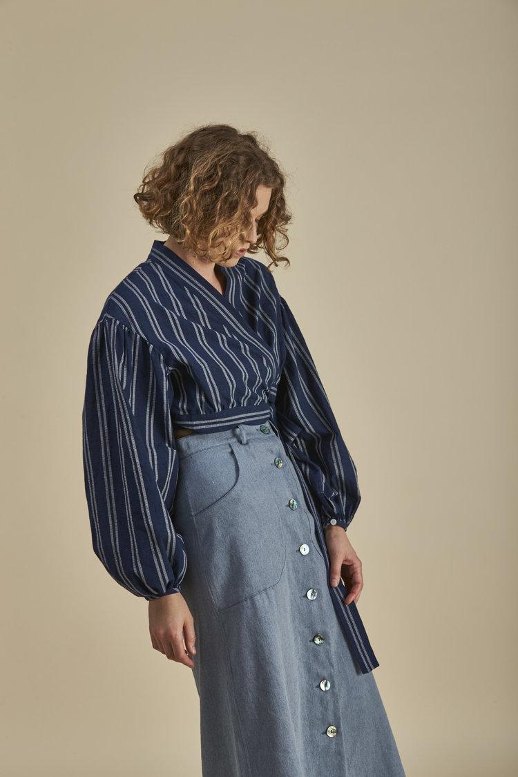 Sofija Butler Adriatic Upculed Preconsumer Denim Skirt Sustainable Fashion New Zealand