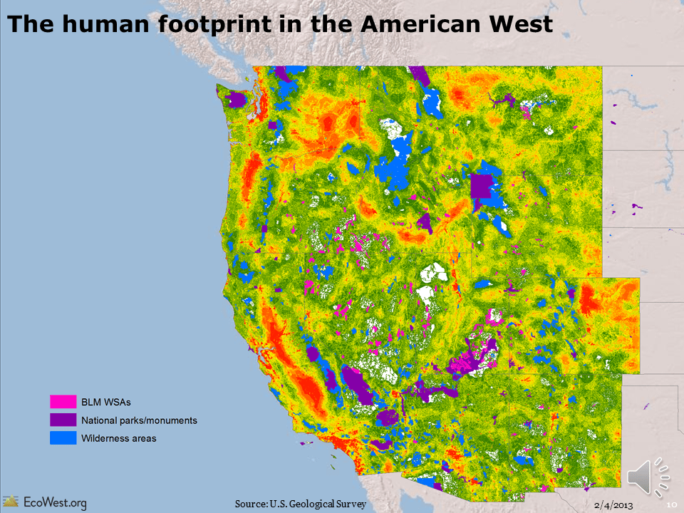 The Human Footprint In The American West EcoWest - Map of us with west undeleoped