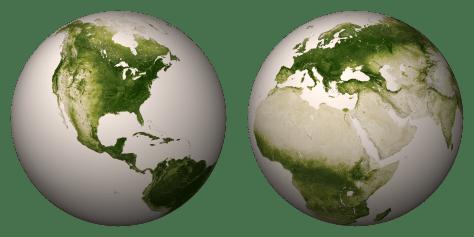 NASA vegetation globes