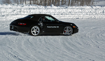 Learning to steer out of a skid at the Porsche Winter Driving School