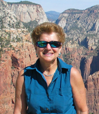 ecoXplorer Evelyn Kanter atop Angels Landing trail, Zion National Park