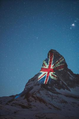 British flag projected on Matterhorn