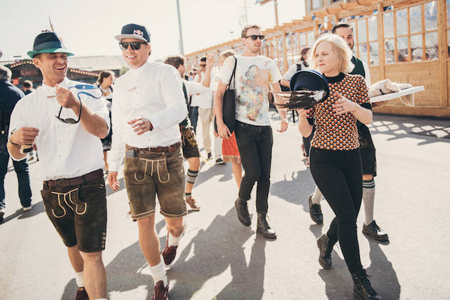 Travis Rice and friends walk at the Oktoberfest in Munich, Germany on September 25th, 2016. // Phil Pham / Red Bull Content Pool // P-20160926-01358 // Usage for editorial use only // Please go to www.redbullcontentpool.com for further information. //