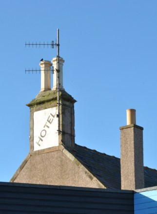 hotel roof eyemouth winter blue sky