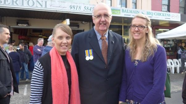 Image of Kristen, Chris and Katelyn at Balmain, Anzac Day 2015 - ecperkins.com.au