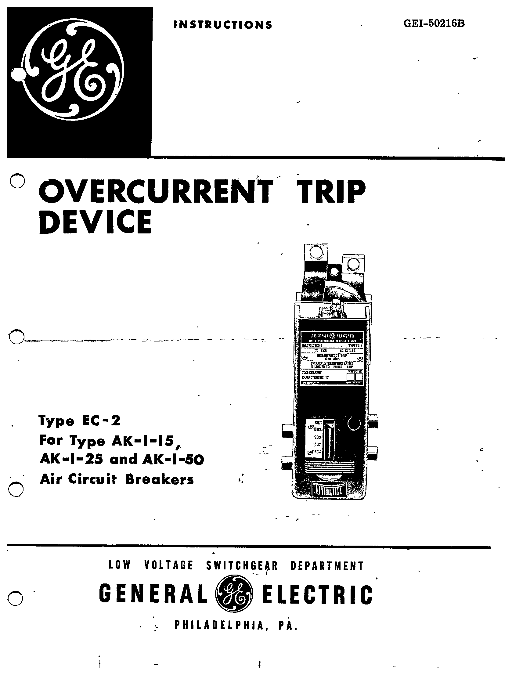 Gei Overcurrent Trip Device Type Ec 2 For Type Ak 1 15 Ak 1 25 And Ak 1 50 Air Circuit