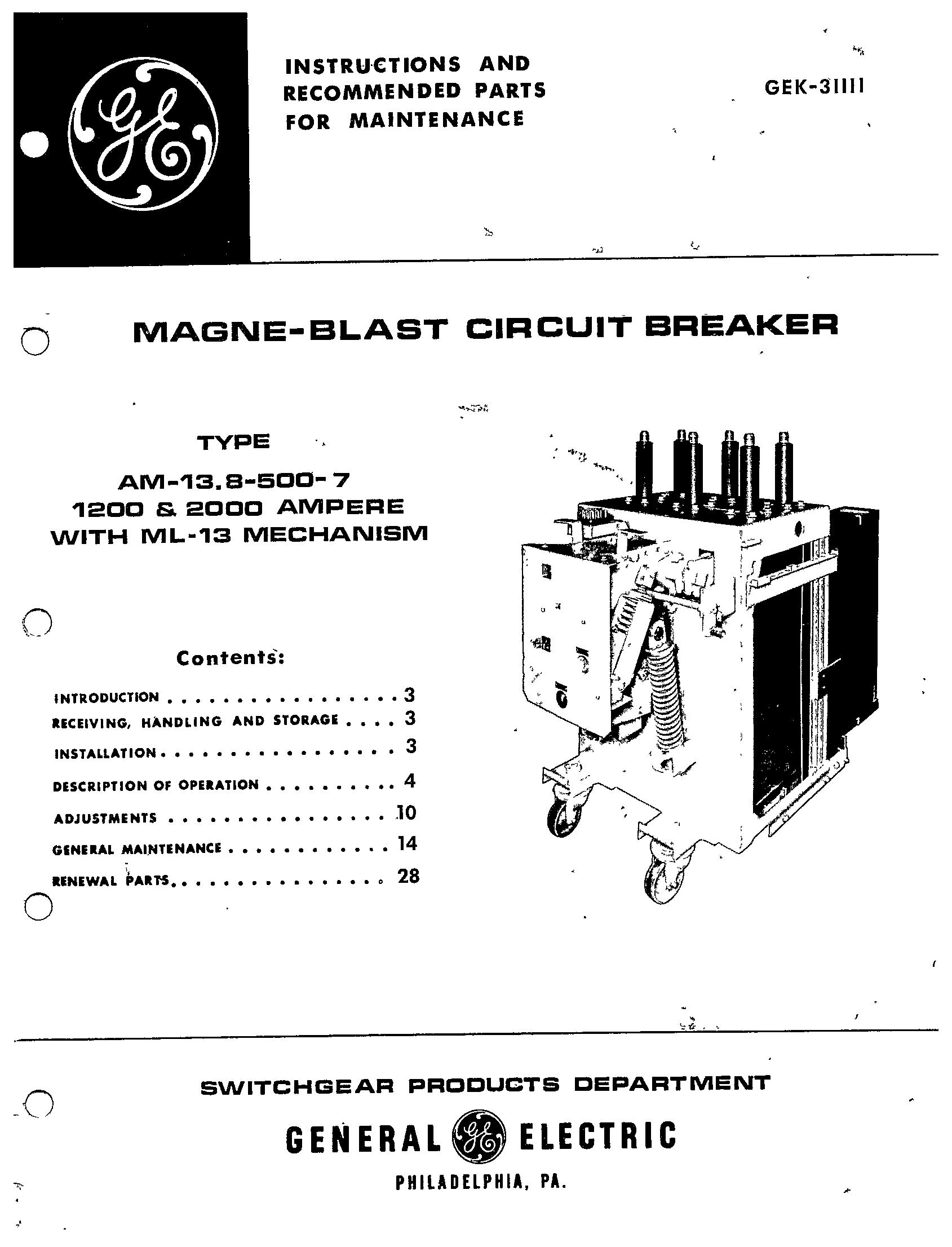 Gek Magne Blast Circuit Breaker Type Am 13 8 500 7