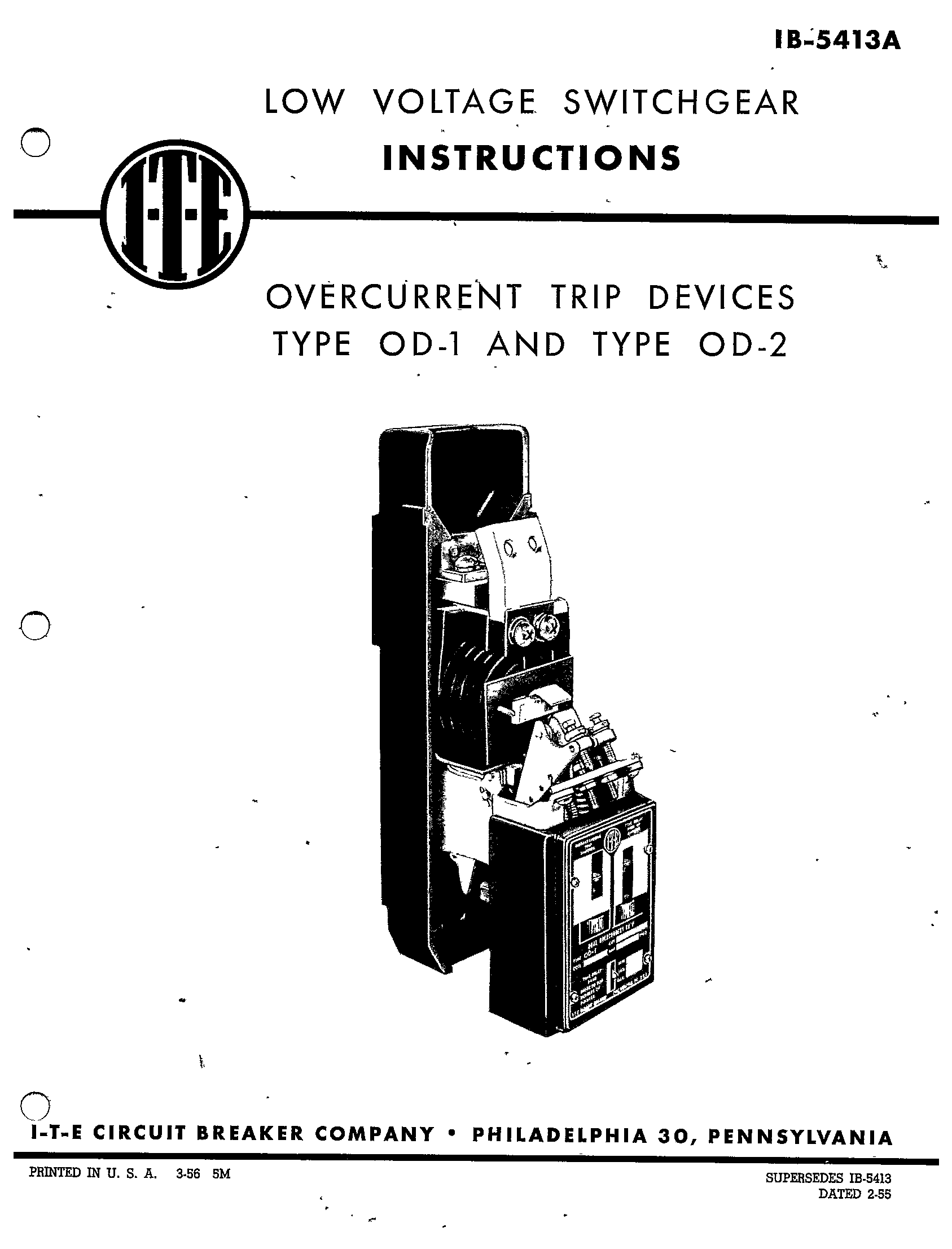 Ib A Overcurrent Trip Devices Type Od 1 And Type Od 2