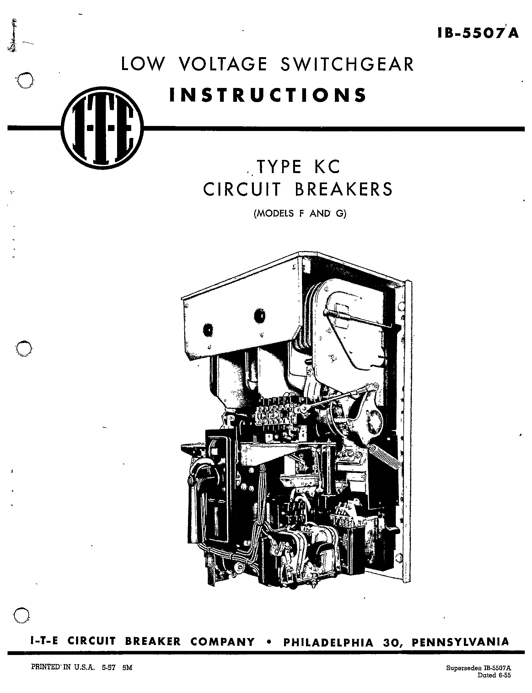 Ib A Type Kc Circuit Breakers Models F And G Manual