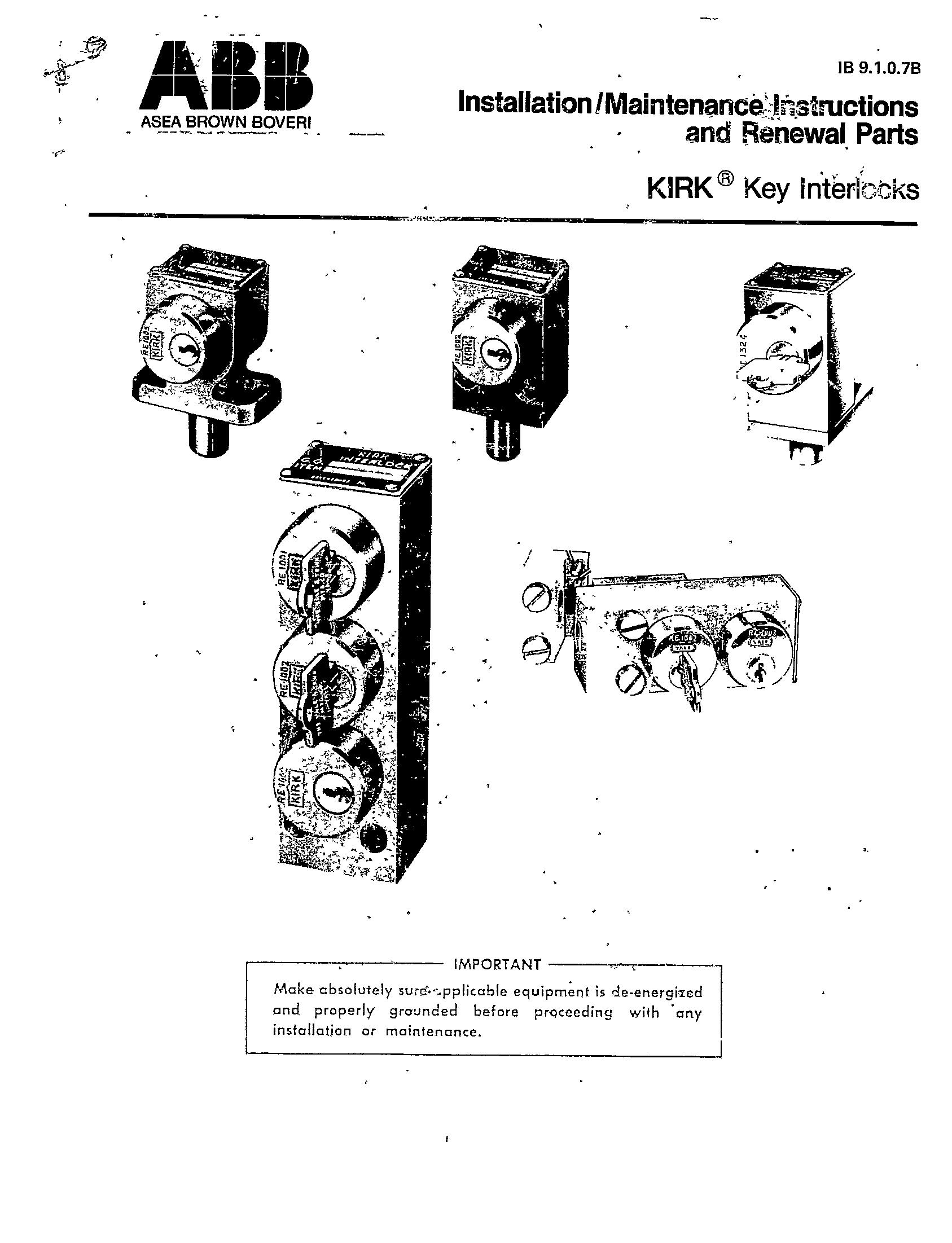 Cutler Hammer Kirk Key Operating Instructions