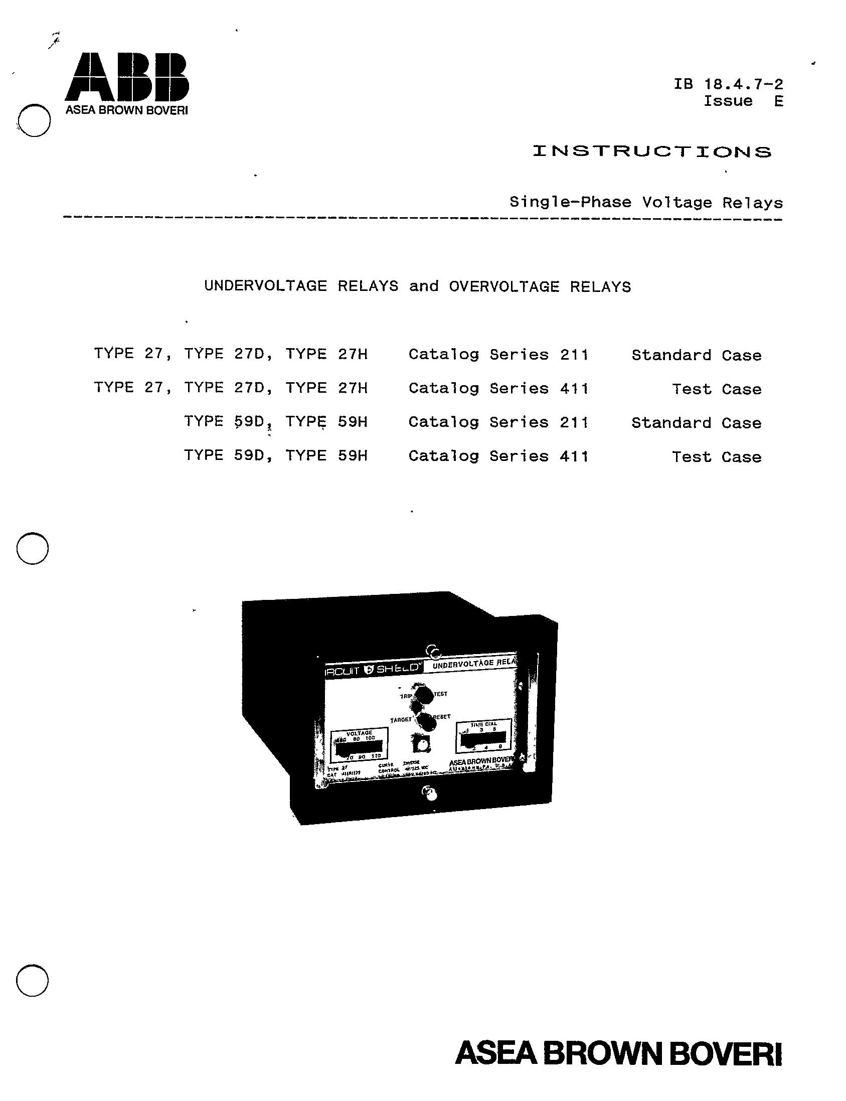 Single Phase Voltage Relays Undervoltage And Overvoltage