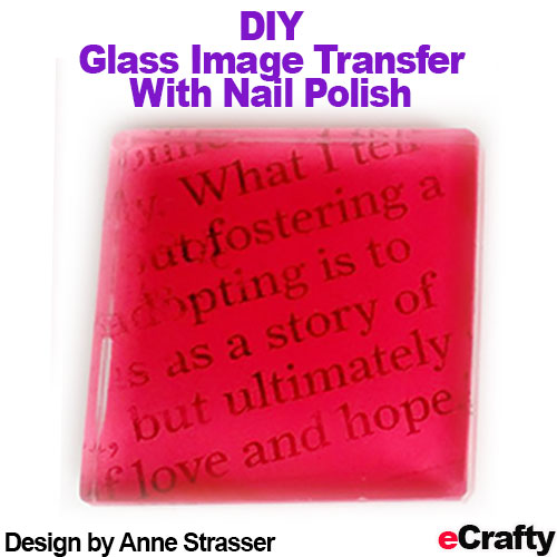These images were transferred onto our glass tiles with nail polish and rubbing alcohol. You can create multi layers with this technique too! Read our blog post http://goo.gl/dn1j0H for the recipe and visit us at www.eCrafty.com for glass tiles, sealers, craft supplies!