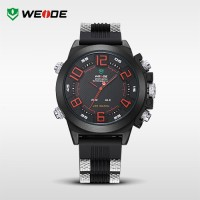 Jam Tangan Weide Japan Quartz Silicone Strap WH5202 Black red