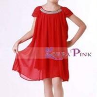 Jual Korea Pink Red Diamond Neckline Baru | Baju Gaun / Dress Anak T