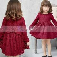 Jual (DRESS ANAK) Korea Pink Dress Brukat Marun. Baru | Baju Gaun /