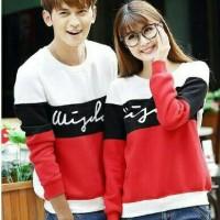 Baju Couple Korea/ Baju sweater lengan panjang warna putih hitam merah