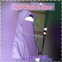 Cadar/ Niqab/ Niqob/ Purdah Half tali/ karet dua (2) layer polos