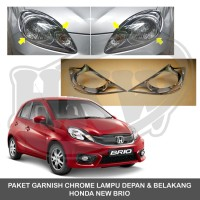 PAKET GARNISH CHROME LAMPU DEPAN & BELAKANG HONDA NEW BRIO